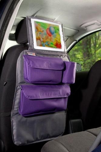 Tuloko Organizer Podróżnika Na Fotel Samochodu Z Oknem Na Tablet Szaro Fioletowy